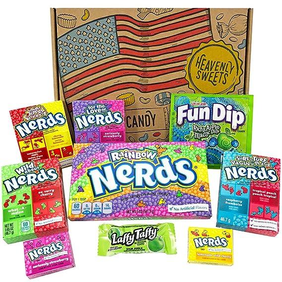 Mini Cesta Americana caramelos Wonka Nerds | Golosinas y barra de caramelos de selección en caja regalo | Surtido incluye Wonka Nerds Laffy Taffy | ...
