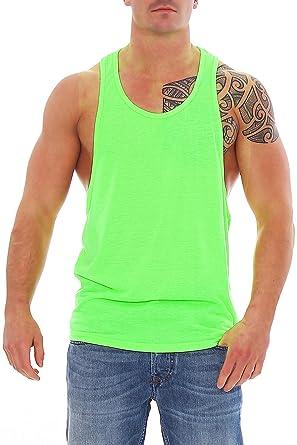 8ac3907ff9ed Work Hard Muscle Shirt Herren Tank Top Neon Grün mit Großem Armausschnitt   Amazon.de  Bekleidung