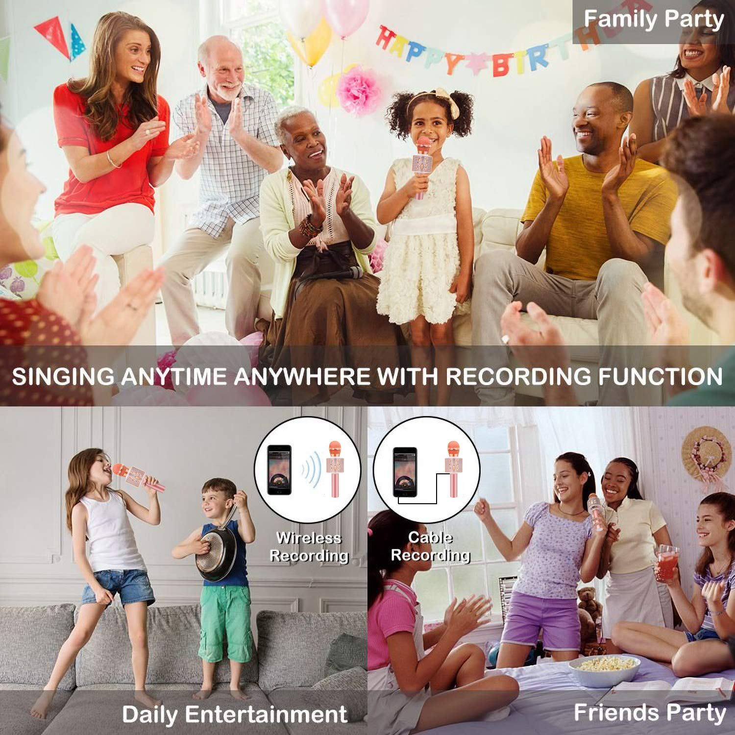 Wireless Karaoke Microphone with Speaker Pro, 3-in-1 Portable Handheld Karaoke Mic Home Party Birthday Gifts for Kids Speaker Machine for Android/ PC /phone(Rose Gold) by weird tails (Image #7)