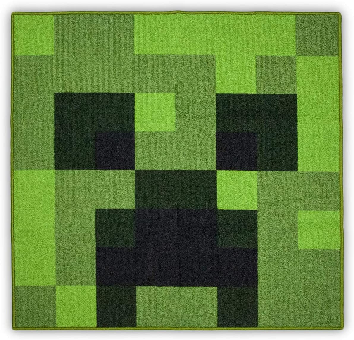 Minecraft Area Rug | Creeper Minecraft Decorations | Minecraft Rug Features Creeper from Minecraft | Minecraft Creeper Face Decorations | 39-Inch Square Area Rug