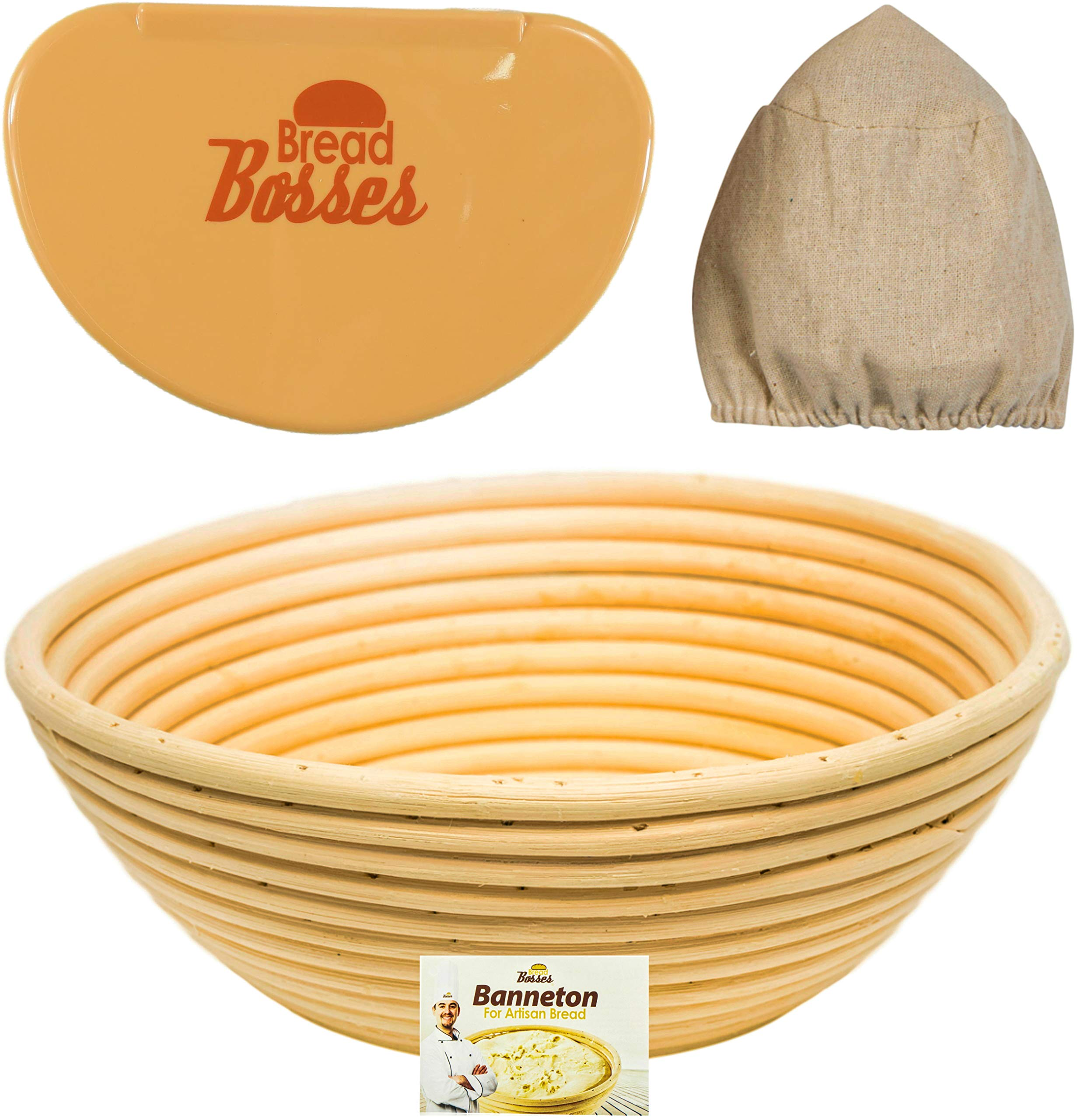 9 Inch Banneton Bread Proofing Basket - Sourdough Proving Baskets w/Bowl Scraper, Brotform Cloth Liner, Starter Recipe for Baking - Making Round Dough w/Rising Bannetons Banetton Benneton Proof Set