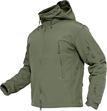 MAGCOMSEN Men's Tactical Jacket Winter Sports Hiking Skiing Water Resistant Fleece Lined Winter Coats Multi-Pockets