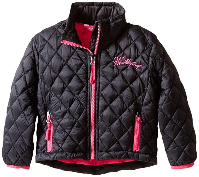 Weatherproof Little Girls' Diamond Quilted Thermoball Jacket, Black, 5/6