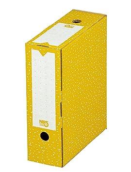 Nips 152576413-4 Archivadores de cartón, 10 x 26,5 x 32,5 cm, color amarillo y blanco: Amazon.es: Oficina y papelería