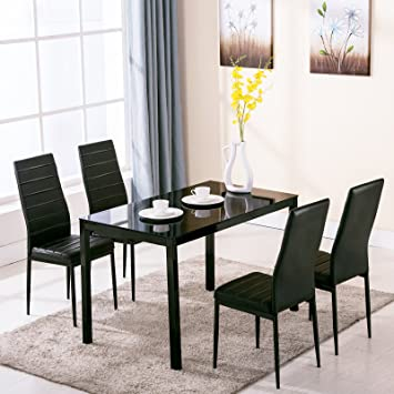 4Family 5 Piece Dining Table Set 4 Chairs Glass Metal Kitchen Room  Breakfast Furniture