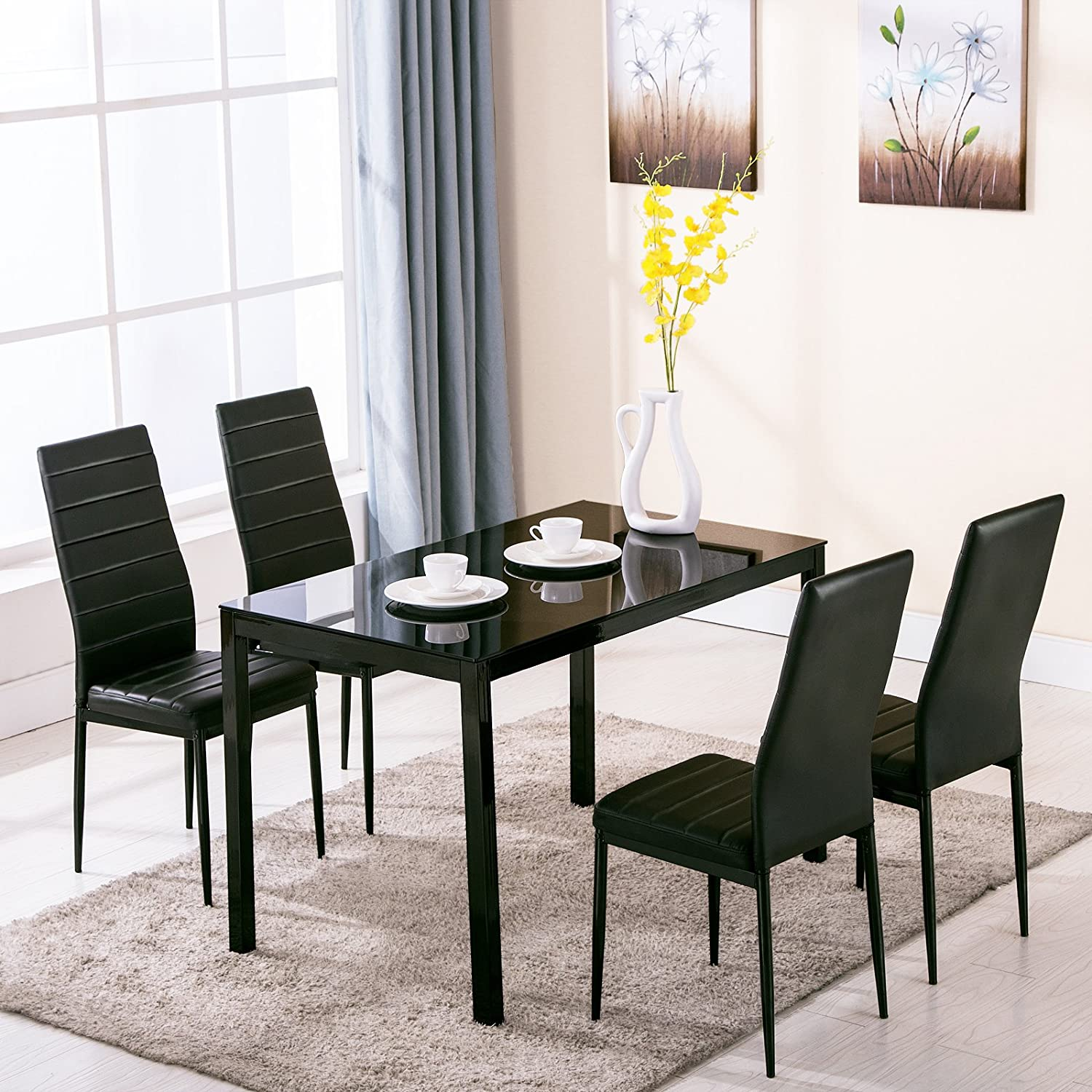 Amazon.com   4Family 5 Piece Dining Table Set 4 Chairs Glass Metal Kitchen  Room Breakfast Furniture   Table U0026 Chair Sets