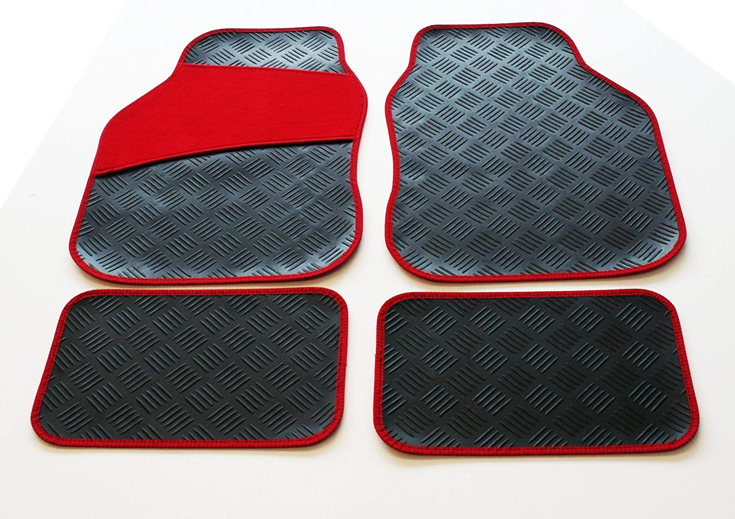 Rubber Mat Set with Red Carpet Heel Pad