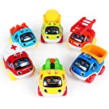 LUKAT Pull Back Cars Toys for 1 2 3 year old Baby Mini Cars Toys Pull Back Vehicles for Tollders Construction Vehicles