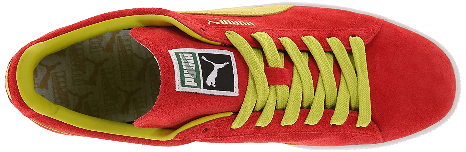 PUMA Adult Suede Classic Shoe B00GV4GSL4 14 M US|Flame Scarlet/Sulphur Spring