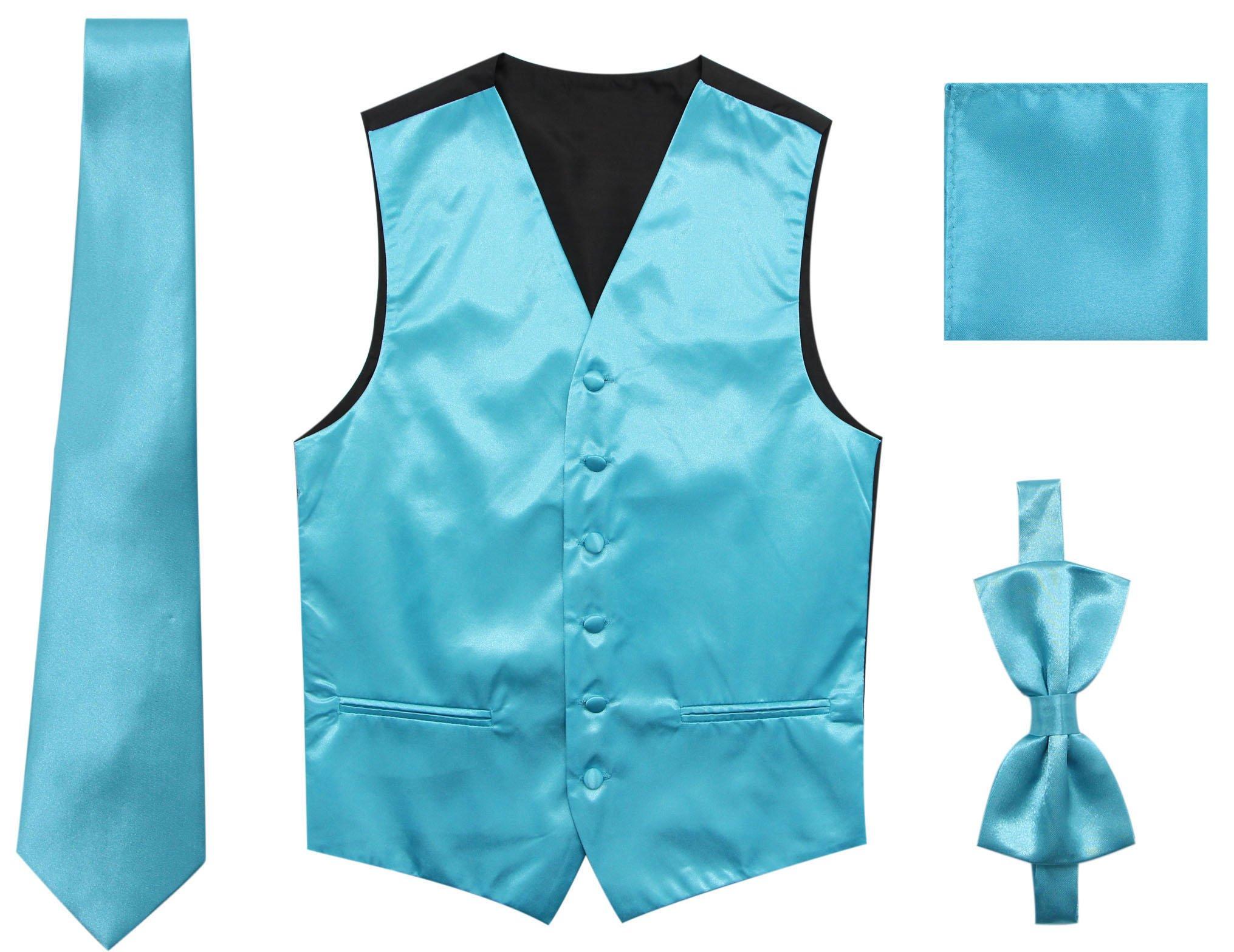 JAIFEI Satin Men Wedding Vest – Set with Neck Tie, Bow Tie & Handkerchief (XXL(Chest 48), Turquoise)