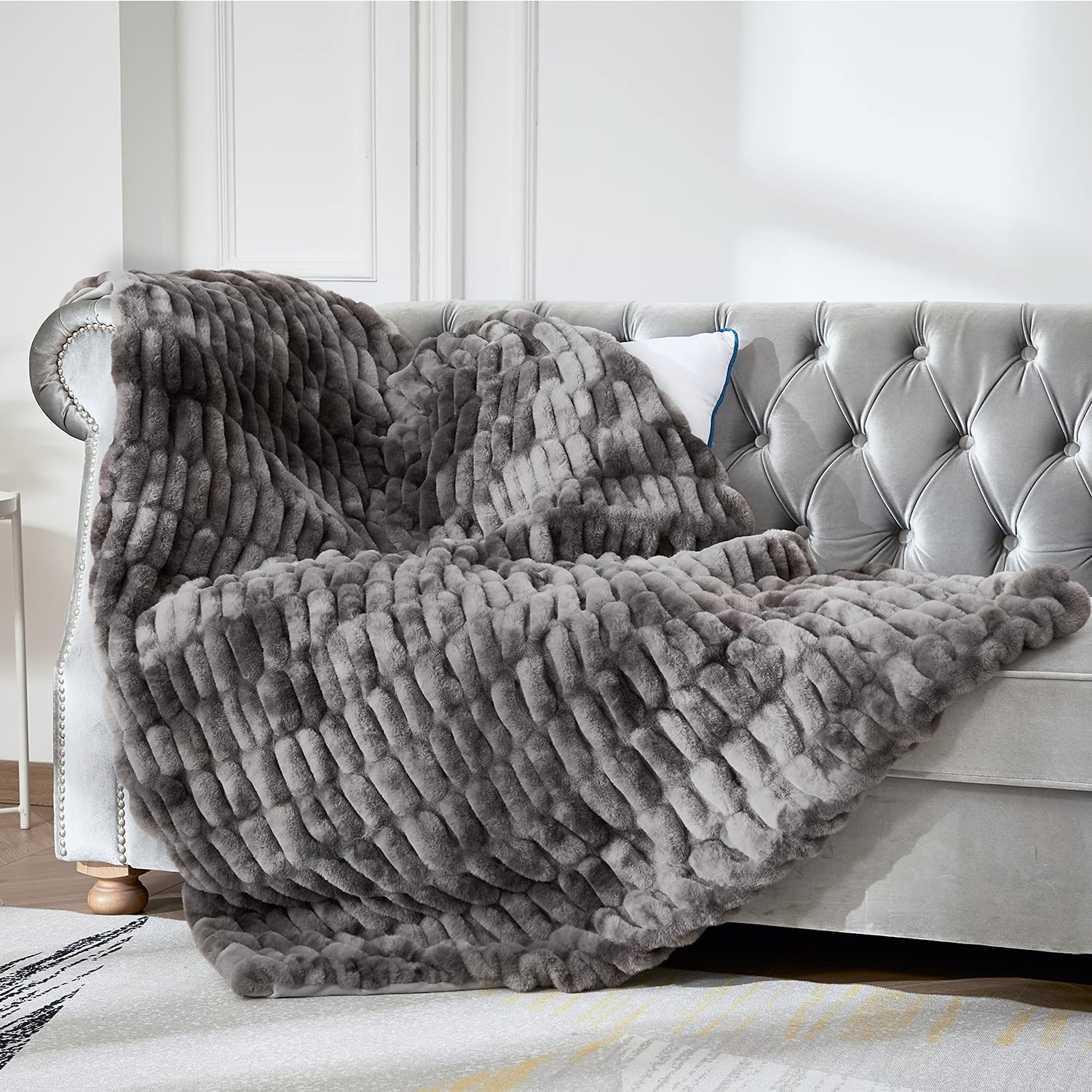 Sylanfia Grey Faux Fur Throws and Washable Sofa Blankets Today's only 5 ☆ popular for Co