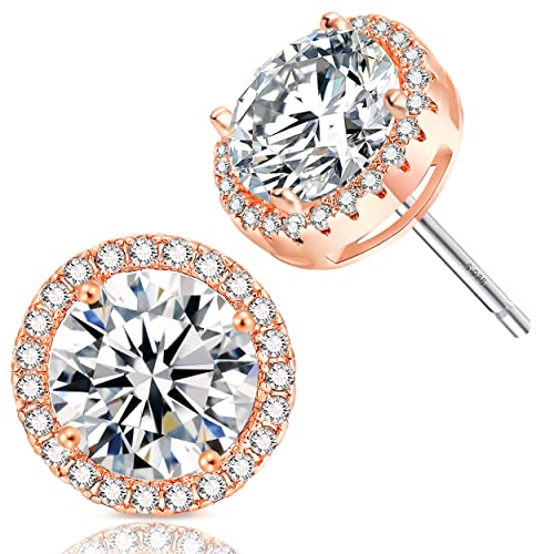 fb980e6ea Amazon.com: 18K Rose Gold-Plated Cluster Round Cut Stud Earrings  (1.66cttw): Jewelry