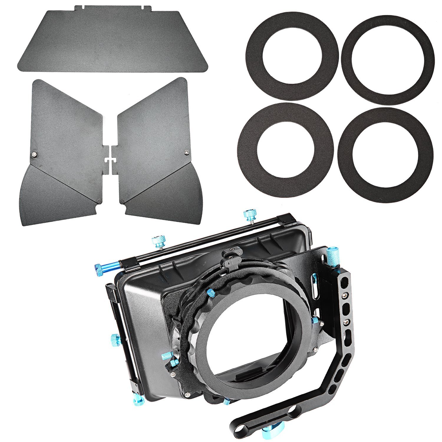 Neewer Aluminum Alloy Swing-away Design Matte Box with Filter Tray,Fit 15mm Rail Rod Rig,for Nikon Canon Sony Fujifilm Olympus DSLR Camera,Camcorder Video Movie Film Making System by Neewer