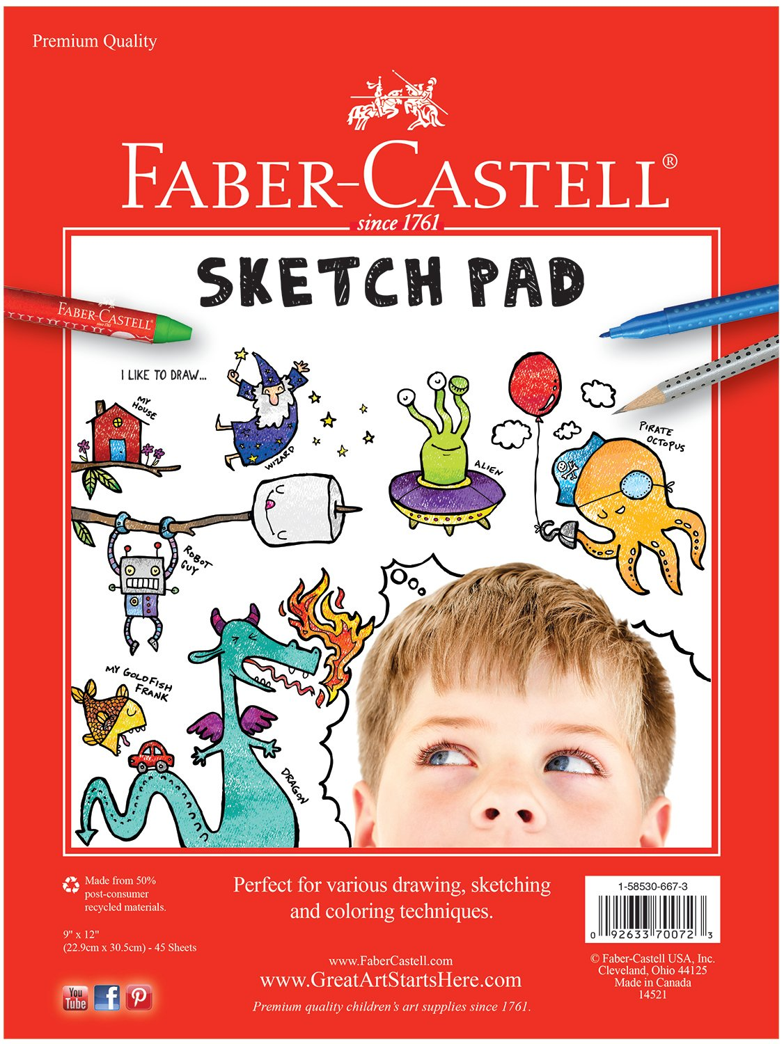 25 Sheets of 9 x 12 Paper Faber-Castell Black Paper Pad