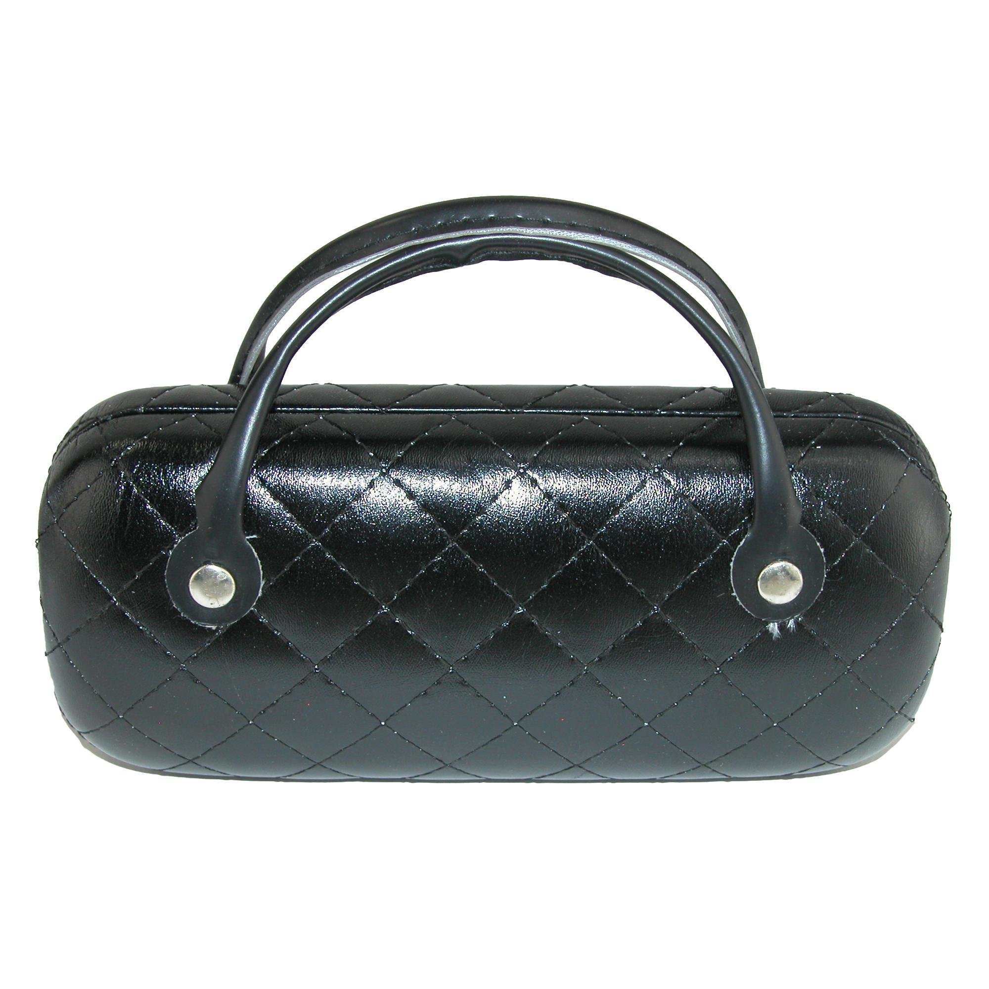 CTM Women's Metallic Quilted Glasses Case with Handle, Black