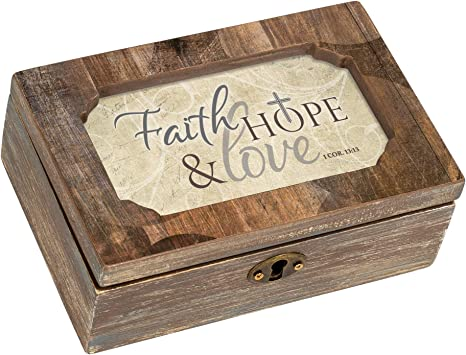 Cottage Garden Faith Hope Love Deco Woodgrain Jewelry Music Box Plays What Friends Are For Home Kitchen
