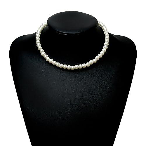 """Babeyond runde Babeyond runde Faux-Perlen-Halsketten-Hochzeits-Perlen-Halskette für Bräute Weiß 16 """""""