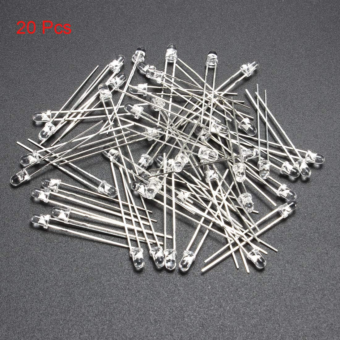uxcell 50pcs Photosensitive Diode Photodiodes Light Sensitive Sensors,3mm Clear Round Head Receiver Diode