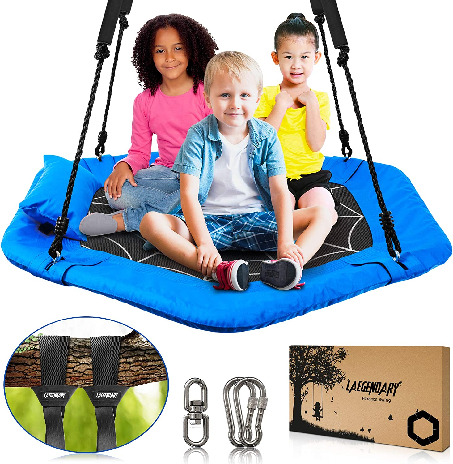 40 Inch Flying Saucer Tree Swing for Kids - Indoor Outdoor Swingset Toys - 700 Lbs Sensory Web Tire Swings - Durable Frame, Waterproof Yard Swings Set - 2 Tree Straps, 2 Carabiners, 1 Swivel