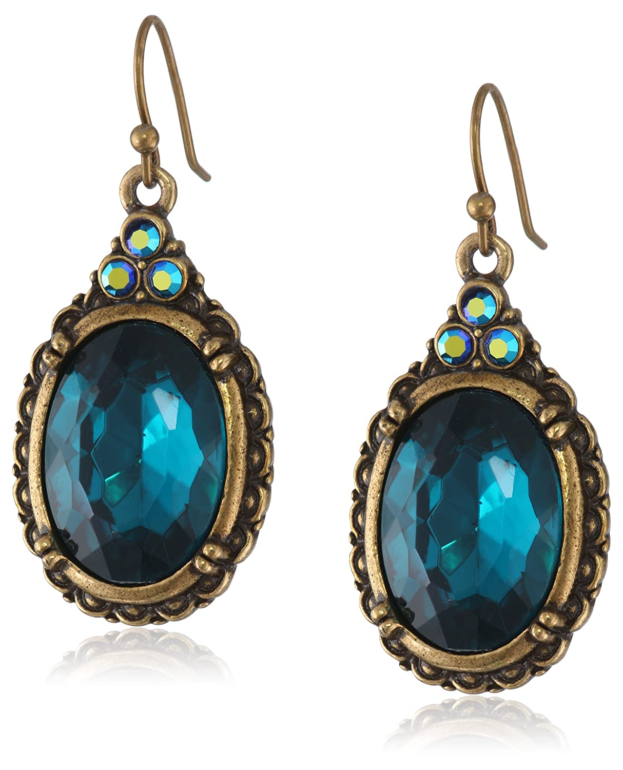Vintage Style Jewelry, Retro Jewelry 1928 Jewelry Crystal Oval Drop Earrings $25.19 AT vintagedancer.com