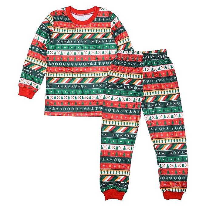 KINDOYO Adultos Unisex Niños Pijamas de Navidad Conjuntos de árboles de Navidad Copo de Nieve Juego