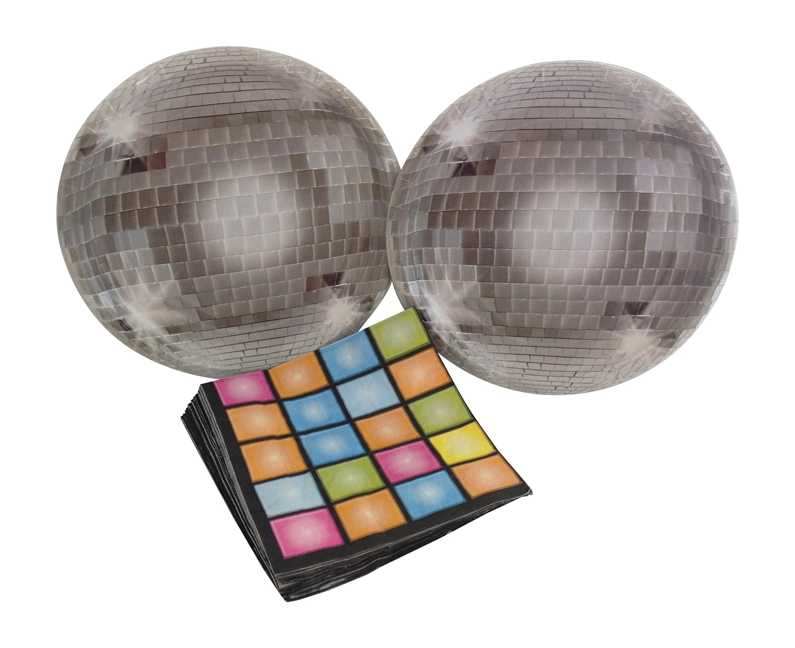 Disco Ball 70's Party Bundle with Paper Plates and Napkins for 16 Guests