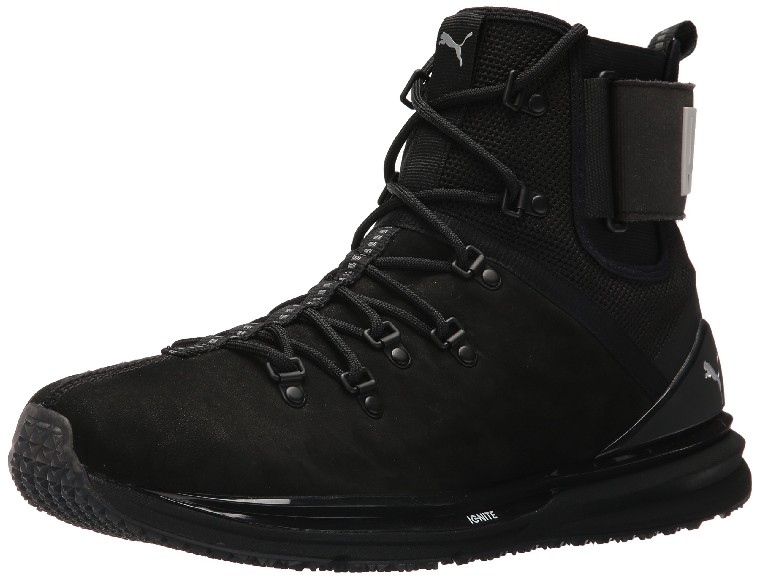 PUMA Men's Ignite Limitless Boot Leather Sneaker, Puma Black-Puma Black, 13 M US