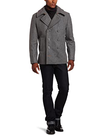 Alpha Industries Men's Ensign Pea Coat Light Grey XX-Large at
