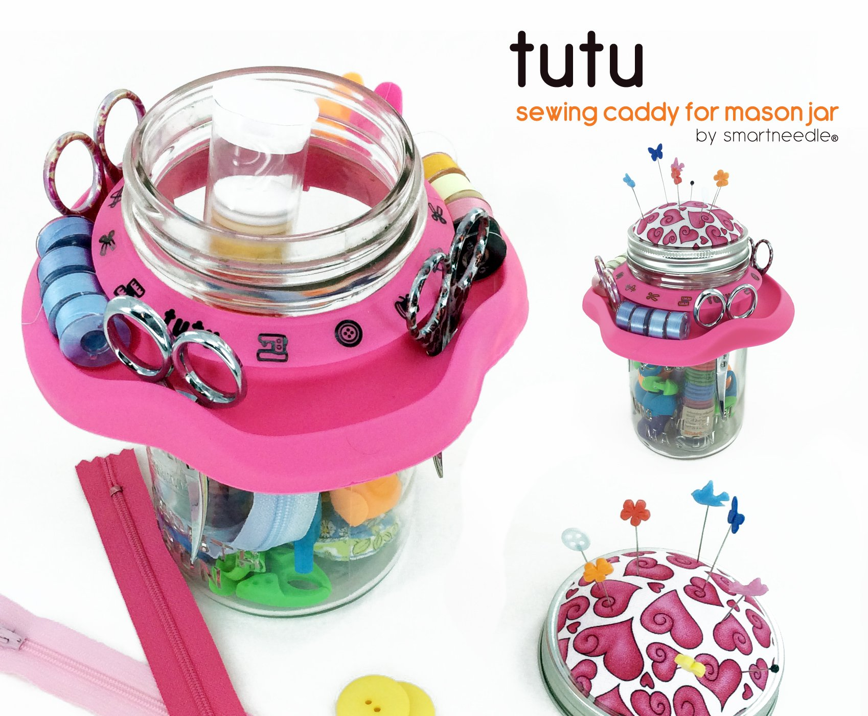 Tutu Creative Sewing Organizer | Turn a Mason Jar into a Beautiful Sewing Caddy - Use As Thread Bobbins and Scissors Holder | Includes a Pincushion | A Wonderful Gift for Every Art and Craft Lover by Smartneedle