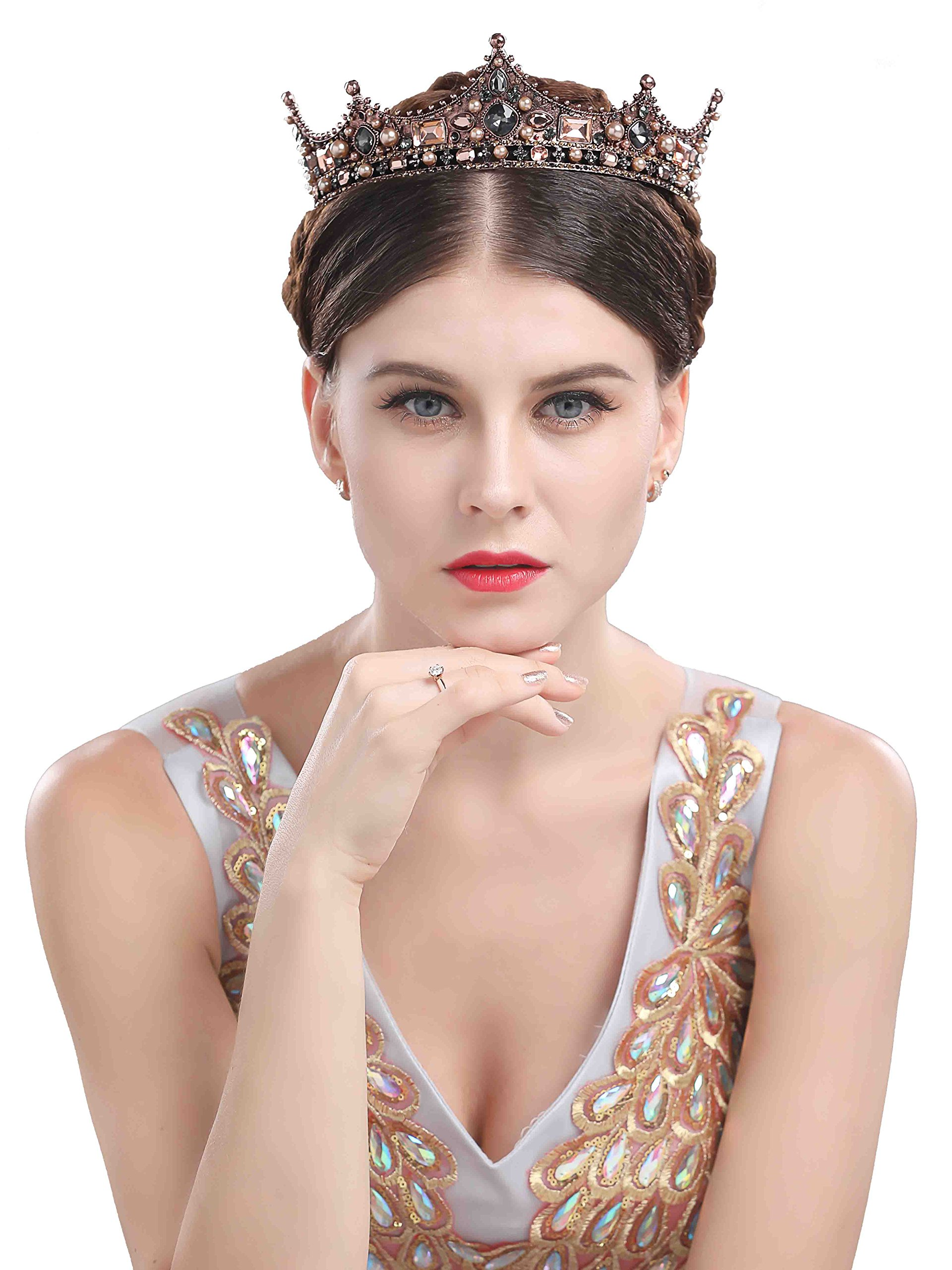 Chicer Baroque Wedding Crown Tiara Queen Princess Vintage Rhinestone Tiara accessories For Women and Girls (Style A).