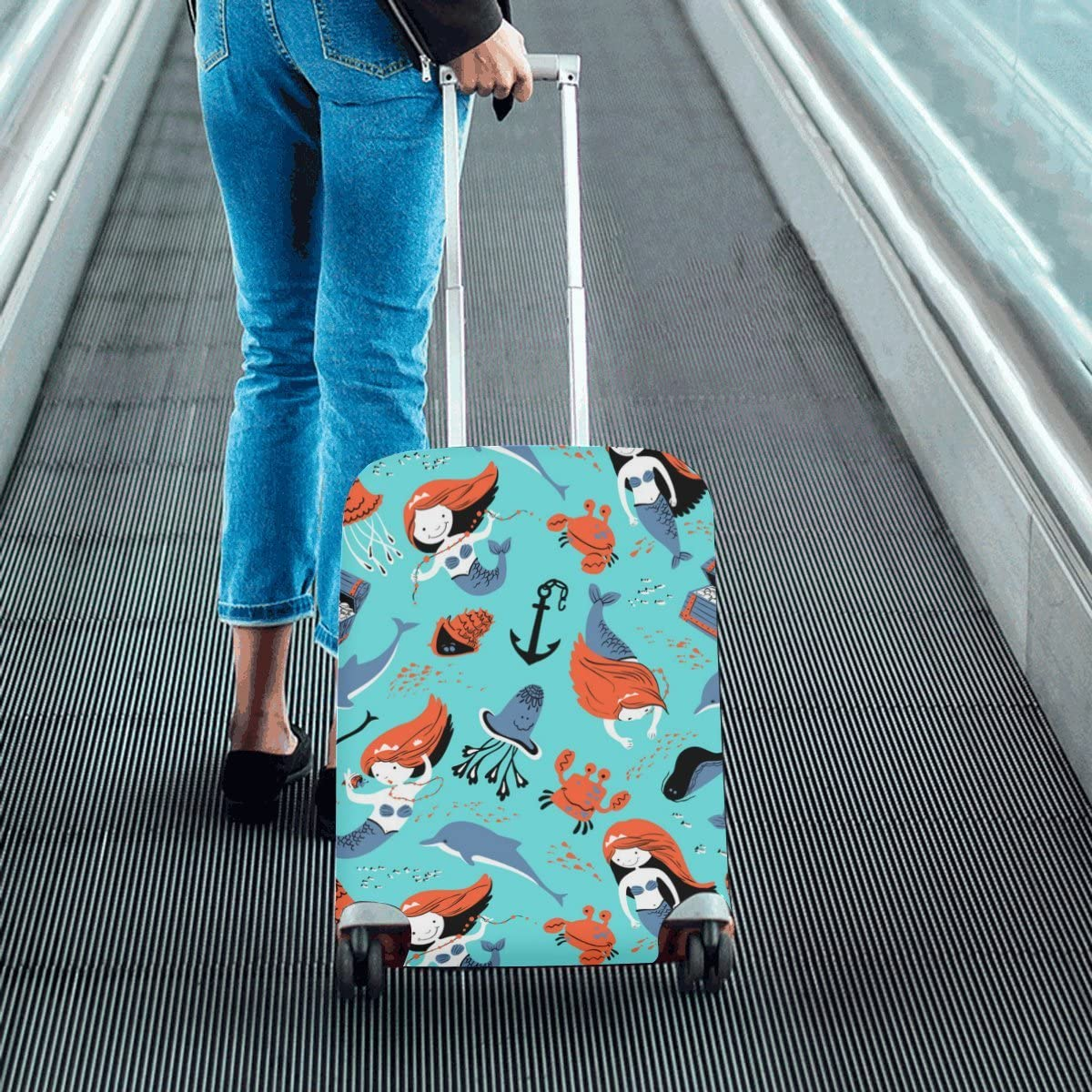 Travel Luggage Cover Beautiful Undewater Mermaid Suitcase Protector 20X24 Inch Luggage Trolley Case