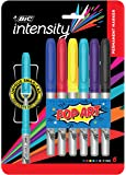 BIC Intensity Permanent Fine Point Markers – 6 Assorted Pop Art Colours - Low Odour, Non Toxic, Snap Lock Cap, Non Slip Grip