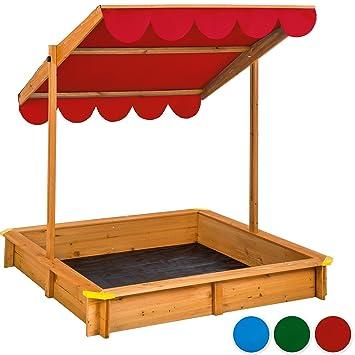 tectake arenero con techo regulable cajn de arena jardn juego para nios madera disponible en