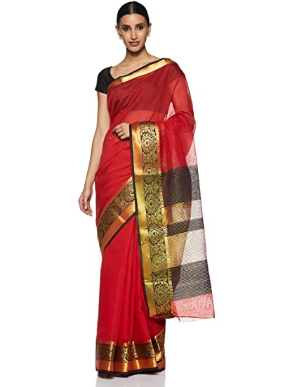 19384f4f118c3 Aalia Art Silk with Blouse Piece Saree (21322-A Red One Size ...