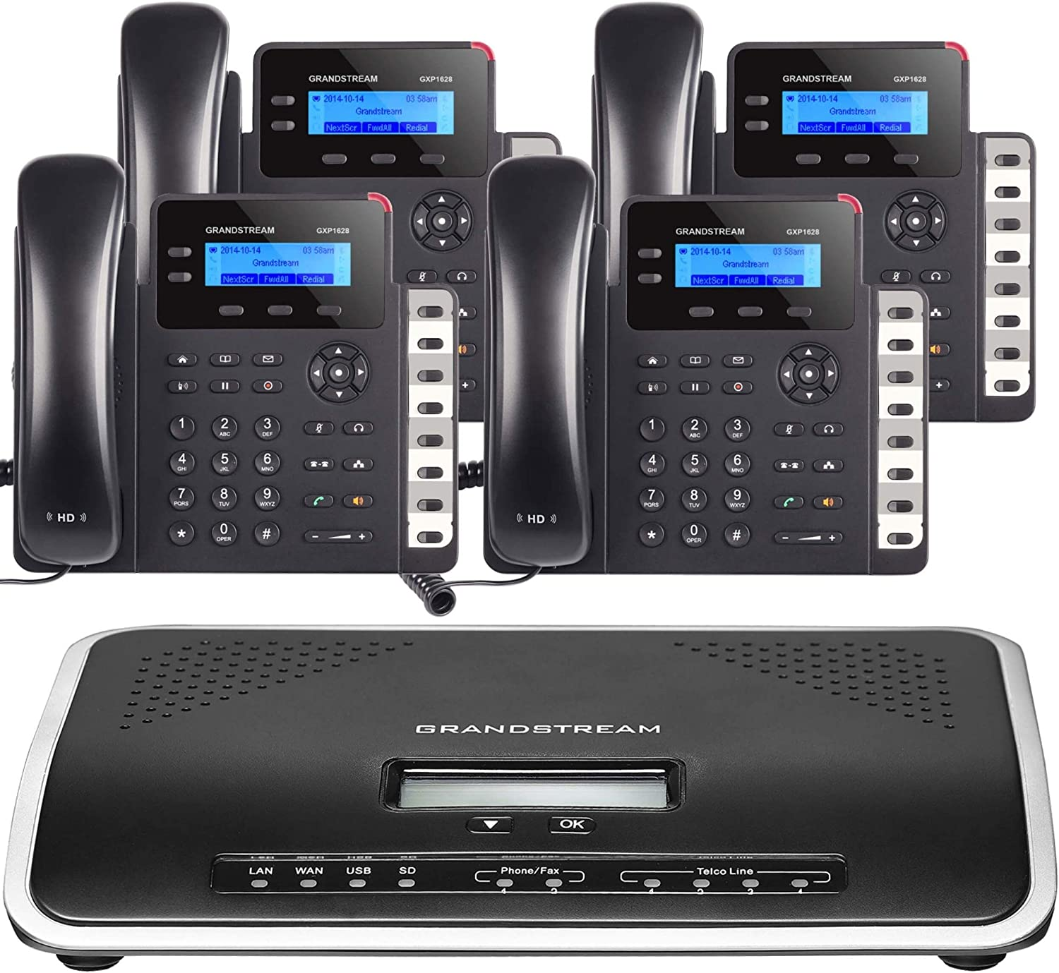 Business Phone System: Starter Pack with Auto Attendant, Voicemail, Cell & Remote Phone Extensions, Call Recording & Free Mission Machines Phone Service for 1 Year (4 Phone Bundle)