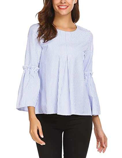 3a8ec88174 Mofavor Women s Round Neck Striped Print Ruffle Flare Sleeve Casual Shirt  Blouse Tops(PAT1