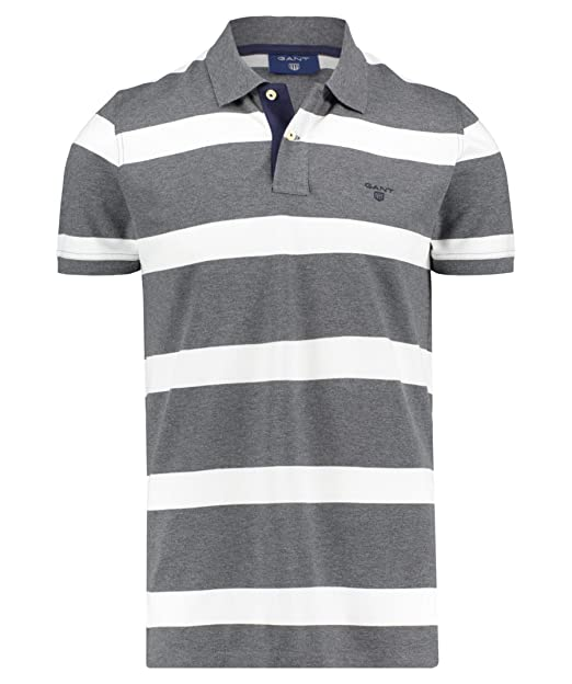 Gant Charcoal Grey Striped Polo Shirt Small: Amazon.es: Ropa y ...