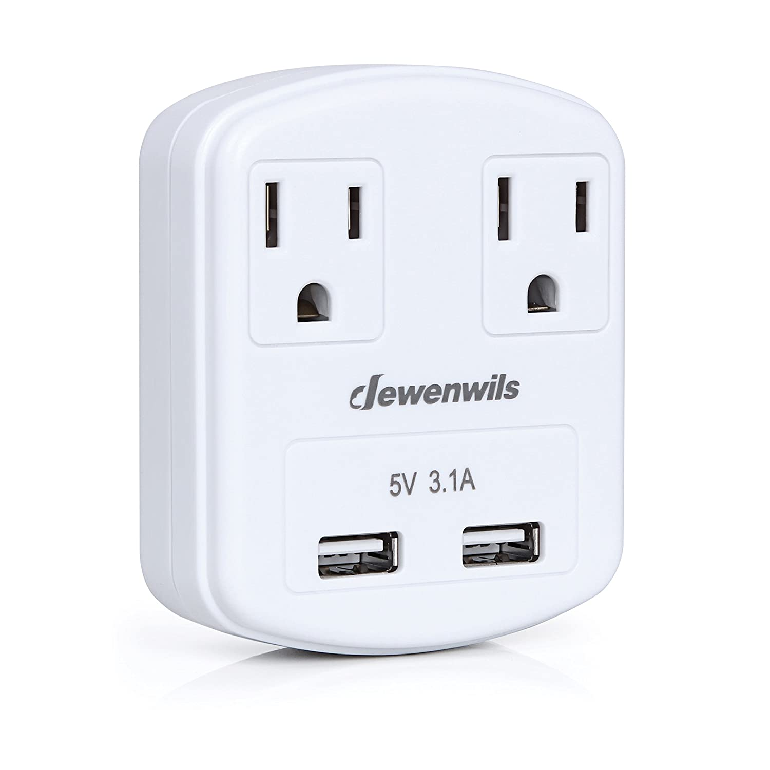 Dewenwils Multi Outlet Plug 2 AC Outlets with Dual USB Ports (2.4A/Port, 3.1A Total), Small Wall Outlet Adapter USB Charger for Travel/Home Use, ETL Listed, White CHOU202A