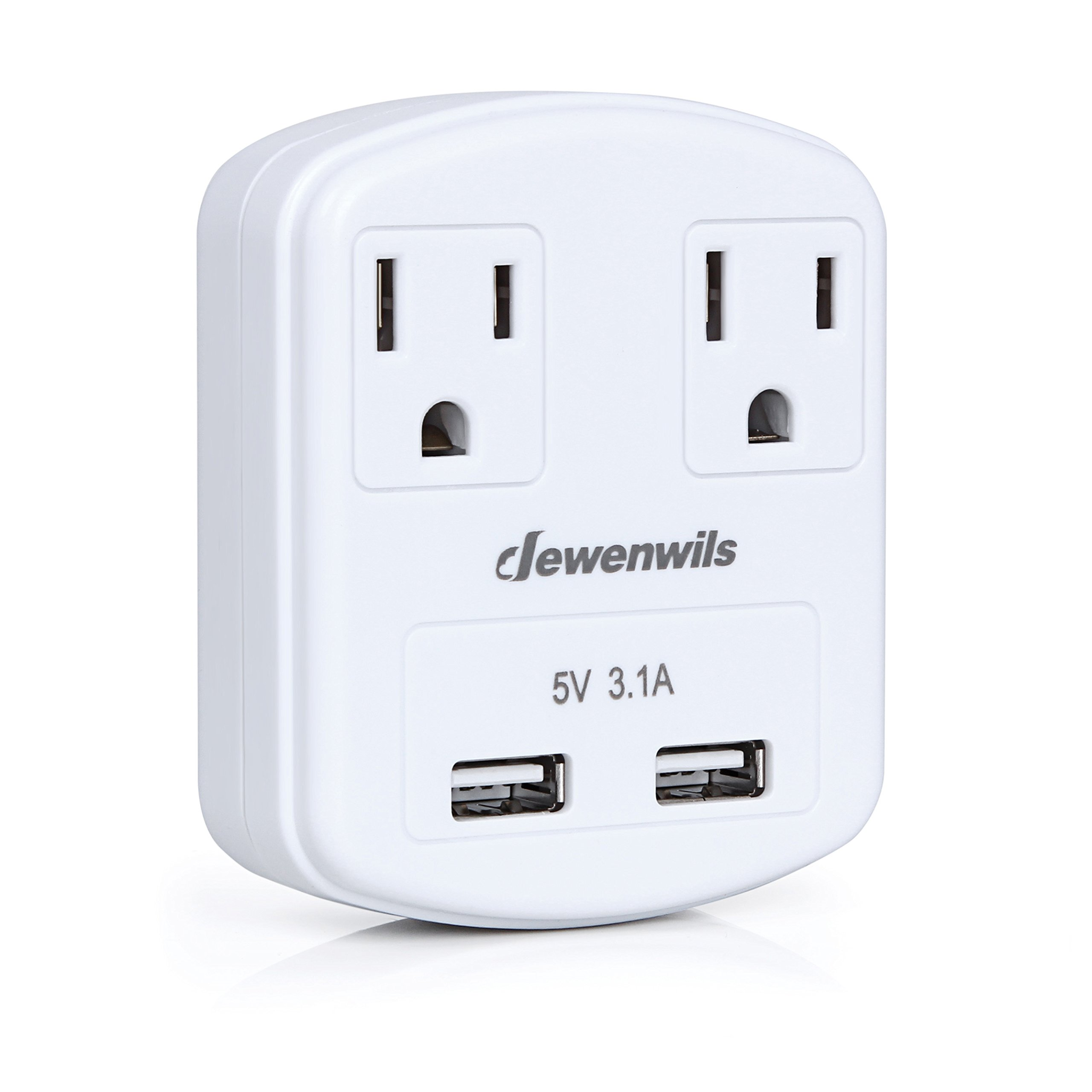 Dewenwils Multi Outlet Plug with 2 USB Ports (3.1A Total), Small Power Strip USB Charger for Cruise Ship/Hotel / Dormitory, Compatible with GFCI, ETL Listed, White
