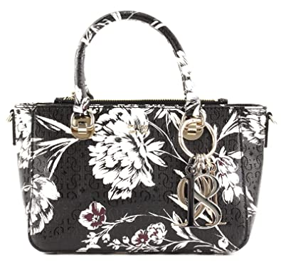 1bd294d065 Guess Tamra Small Society Satchel Black Floral: Amazon.fr ...