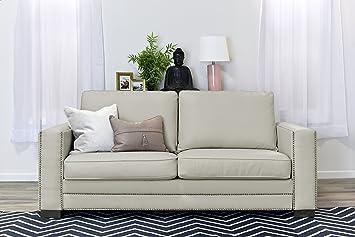 Amazoncom Serta Mason 81 Sofa in Ivory Bonded Leather Kitchen