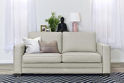 Serta Mason 81u0026quot; Sofa In Ivory Bonded Leather