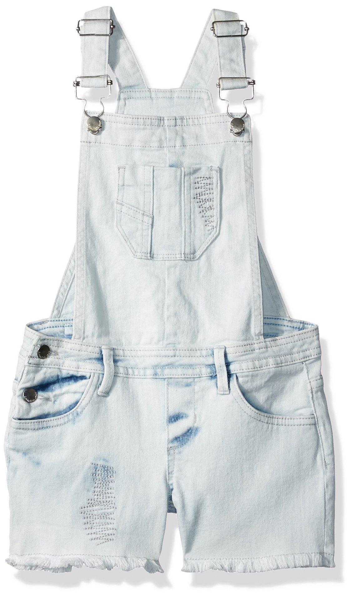 Calvin Klein Little Girls' Cut-Off Denim Shortall, Bleachout, 5