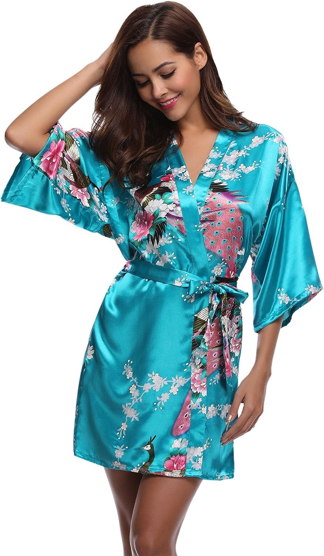 Aibrou Donna Elegante Vestaglia Scollo a V Pigiama Kimono Pavone Esotici Fiore Camicia da Notte in Raso con Cintura per Casa Hotel Nozze