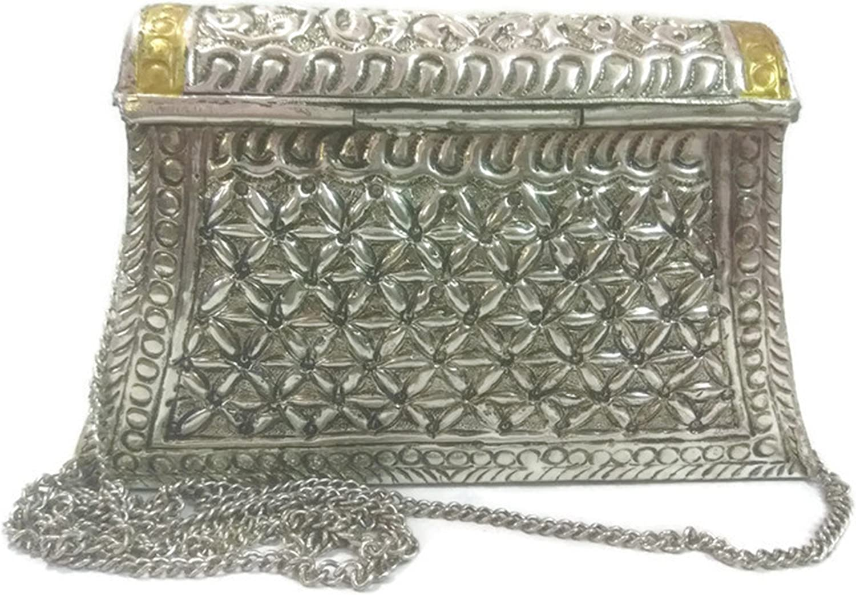 White Metal clutch Vintage clutch  Handmade Brass bag metal purse carving wallet