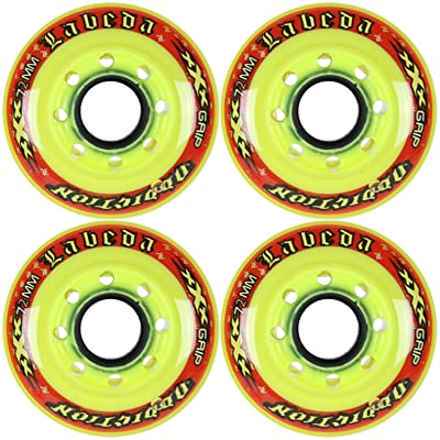Labeda Addiction Wheels XXX Grip Yellow/Red 72mm Roller Hockey 4-Pack: Toys & Games