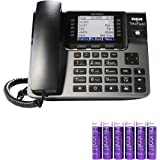RCA U1000 Unison Base Station - 4 Line Phone Systems for Small Business with Digital Receptionist Bundle with Blucoil 6 AAA B