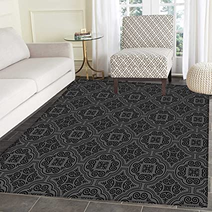 Dark Grey Area Rug Carpet Baroque Venetian Flower Motifs Medieval Ornate  Mosaic Gothic Design Elements Living