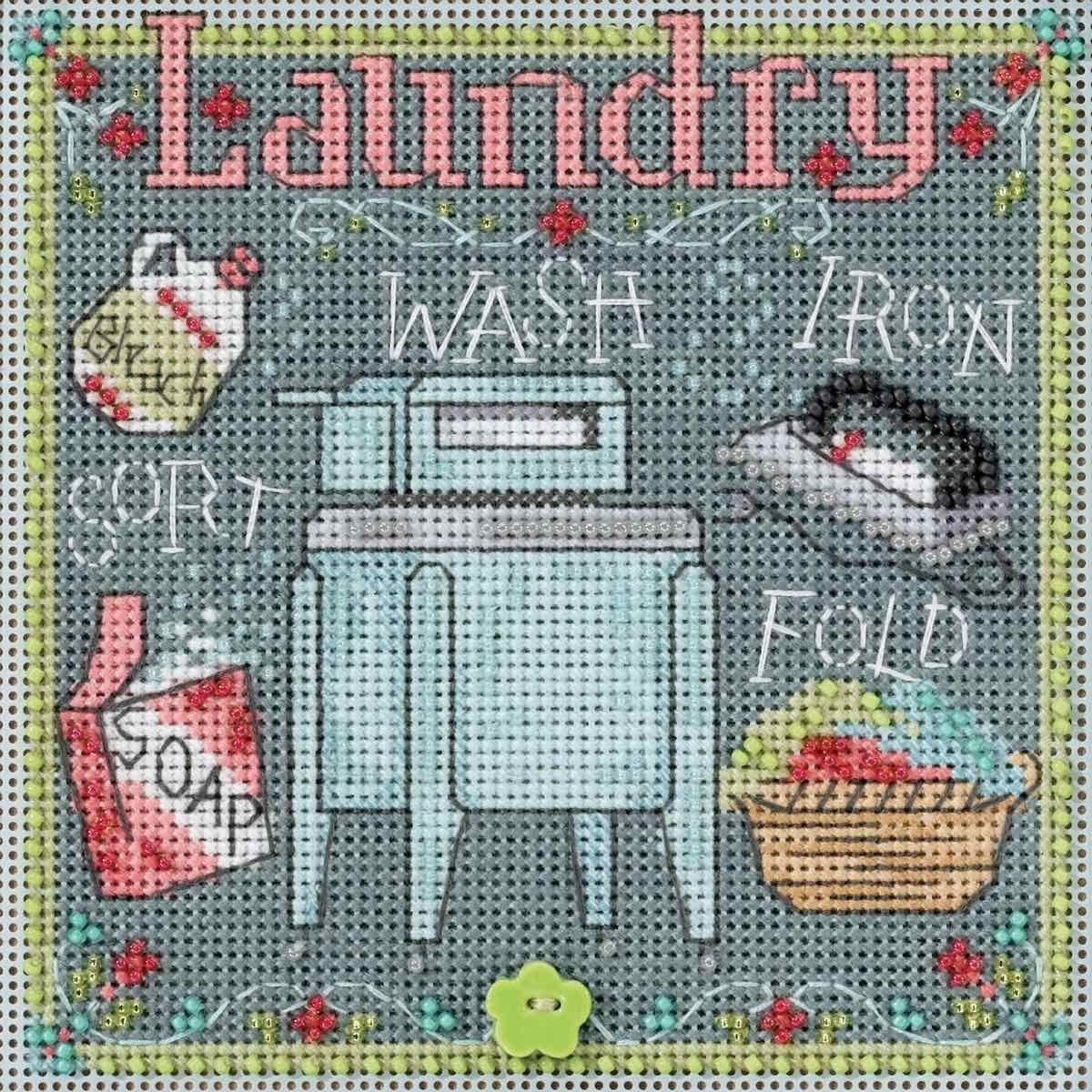 Laundry Beaded Counted Cross Stitch Kit Mill Hill 2017 Buttons Beads Spring MH141716