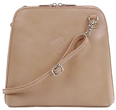 15d685b3942 Primo Sacchi ® italien beige clair en cuir lisse petit corps de croix ou sac  à